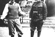 Barbu Brezianu (left), with Constantin Noica, during their military service, Sinaia
