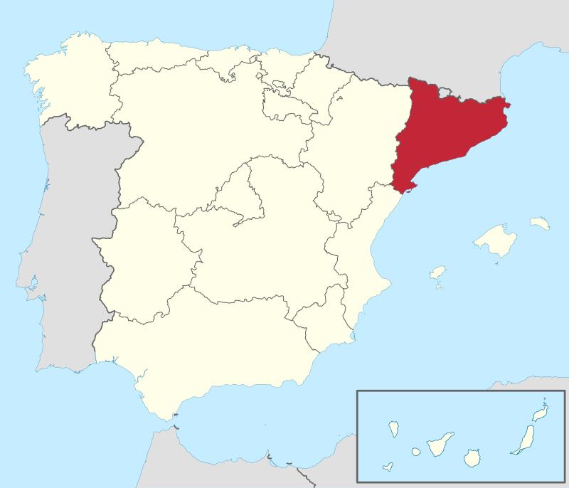 Catalunya pe harta Spaniei.
